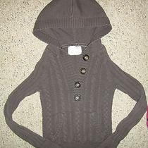 Aeropostale Women Solid Cable Knit Hooded Brown Sweater Small Photo