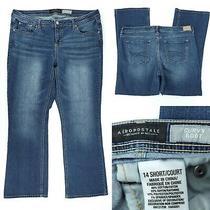 Aeropostale Womens 14 Short 36x29 Curvy Boot Cut Bootcut Stretch Blue Jeans Photo