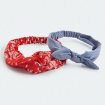Aeropostale Womens Bandana Print & Denim Bow Headband 2-Pack Photo