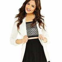 Aeropostale Womens Bethany Mota Blazer Jacket Off-White Large Photo