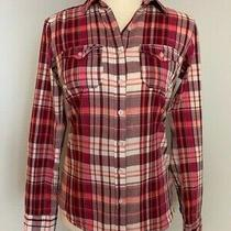 Aeropostale Womens Button Down Shirt Size S Pink White Plaid Roll Tab Sleeve Photo