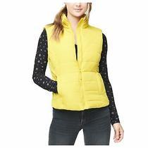 Aeropostale Womens Classic Quilted Vest Yellow Medium Photo