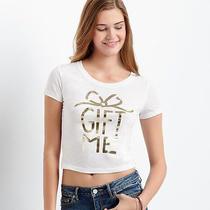 Aeropostale Womens Gift Me Crop Tee Shirt Photo