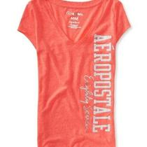Aeropostale Womens Glitter v Neck Graphic T-Shirt Orange X-Small Photo
