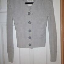Aeropostale Womens Gray Knit Hooded Cardigan Sweater Size Medium M Photo