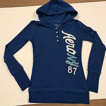 Aeropostale Womens Hooded Pullover Thermal Shirt Sewn on Letters S/p Blue Photo