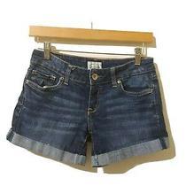 Aeropostale Womens Junior Blue Denim Cuffed Stretch Shorts Size 1/2 Zipup  Photo