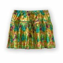 Aeropostale Womens Lined Pleated Floral Mini Skirt Yellow Large Photo
