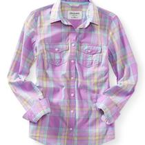 Aeropostale Womens Long Sleeve Plaid Woven Shirt Photo