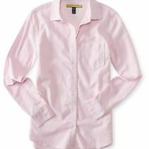 Aeropostale Womens Oxford Button Up Shirt Pink Large Photo