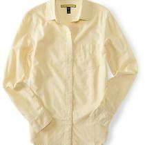 Aeropostale Womens Oxford Button Up Shirt Yellow Large Photo