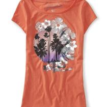 Aeropostale Womens Palm & Hibiscus Graphic T Shirt Photo