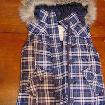 Aeropostale Womens Puffer Style Hooded Vest Xs Blue/white Plaid Faux Fur Zip Photo