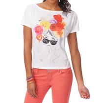 Aeropostale Womens Rose Girl Boxy Tee Shirt Photo