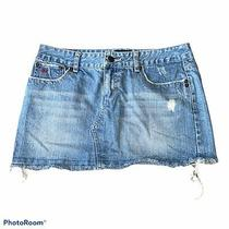 Aeropostale Womens Size 3/4 Denim Blue Jean Skirt Mini Skirt Distressed Nice Photo