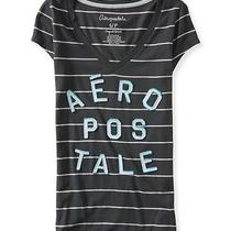 Aeropostale Womens Stacked Striped v-Neck Graphic T Shirt Photo