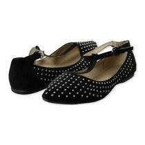 Aeropostale Womens Studded Pointy Toe T-Strap Flats Black 7.5 b(m) Us Photo
