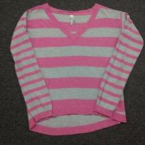 Aeropostale Womens Sweater Size S Striped Pull Over Long Sleeve Grey & Pink Cute Photo