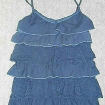 Aeropostale Womens Tank Top Shirt Navy Blue Tiered Ruffles Size S Photo