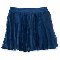 Aeropostale Womens Vertical Lace Overlay Mini Skirt Blue Large Photo