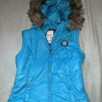 Aeropostale Xsmall Turquoise Sleeveless Vest With Detachable Furlined Hood Photo