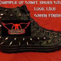 Aerosmith Punk Classic Rock Custom Studded Converse Shirt Sneakers Shoes Spikes Photo