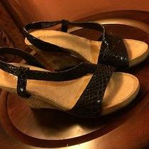 Aerosoles A2 Women's Black Patent Croc Strappy Wedge Sandals Us Sz 8.5 Photo