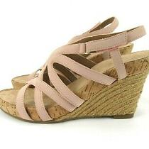 Aerosoles Size 6 M Lux Plush Jute Wedge Heel Sandal Blush Pink Faux Suede Straps Photo