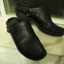Aerosoles Women's Black Wedge Clogs W/silver Ring Detail Size 8 M Photo