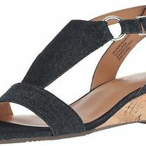 Aerosoles Women's Creme Brulee Wedge Sandal 8 Wide Denim Photo