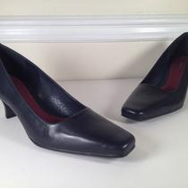 Aerosoles Womens Pumps Heels Sz 10 Black Leather a Gray/blue Hue in Strong Light Photo
