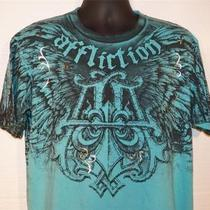 Affliction Mens Gouache Event Aqua Blue Foiled Slub Tee Shirt Sz Xxl 2xl Photo