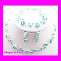 Affordable Aqua Blue Crystal Bridesmaid 3 Bridal Necklace Earring Bracelet Set  Photo