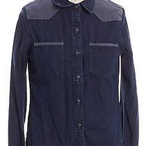 Ag Adriano Goldschmied Blue Denim Button Down Shirt Size S Photo