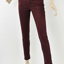 Ag Adriano Goldschmied Bordeaux Wine Stevie Ankle Slim Straight Sateen Pants 26 Photo