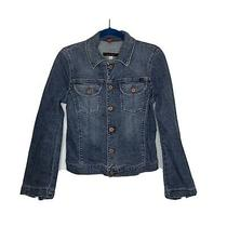 Ag Large Jacket the Alamo Denim Trucker Button Front Jean Blue Pockets Collared Photo