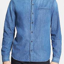 Ag 'Wing' Trim Fit Denim Sport Shirt 100% Cotton Dobby Dot Print Small 198 Photo