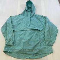 Against the Elements Women Sz Large Blue 1/4 Zip Hooded Rain Windbreaker Jacket Photo