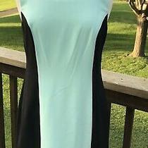 Agb in Bloom Sheath Dress Size 6 Teal Colorblock Knit Slvls Boat Neck Career 74 Photo