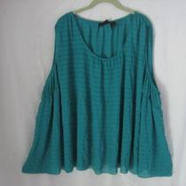 Aggie Barnes Blouse Top Shirt Tunic Sleevess Turquoise Teal Aqua Green 5x Vgc  Photo
