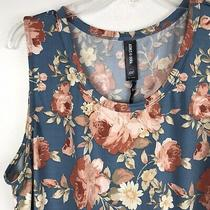 Agnes & Dora Relaxed Ruffle Tank Womens Sz Xxl 2x Denim Blush Floral Top Shirt Photo