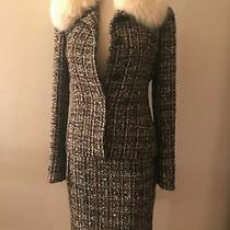 Agnona Italy Women's Fantasy Tweed Skirt Jacket Suit Size S 4 6 Ivory Fox Fur Photo
