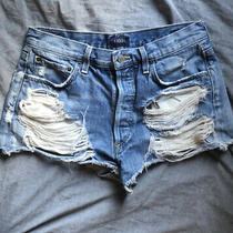 Agolde Shorts 26 Parker Distressed Denim Cutoffs Light Wash Jeans Ripped Frayed Photo