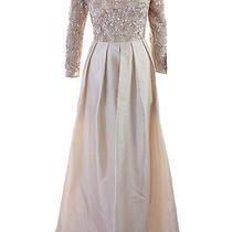 Aidan Matox New Blush 3/4-Sleeve Beaded Lace Taffeta Gown 4 489 Dbfl Photo