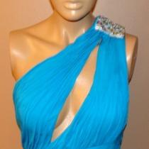 Aidan Mattox Aqua Blue Elegant One Shoulder Ball Room Sexy Evening Dress 6  499 Photo