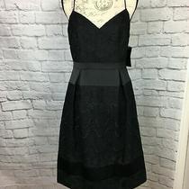 Aidan Mattox Black Floral Lace Embroidered Dress Size 10 Photo