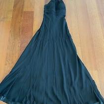 Aidan Mattox Black Silk Halter Gown Dress Size 2 Beaded Photo