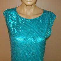Aidan Mattox Dress Electic Aqua Full Sequin Evening Cocktail Party 6 Nycto 299 Photo