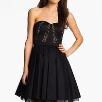 Aidan Mattox Strapless Lace Trim Taffeta Dress Black Size 12 Photo