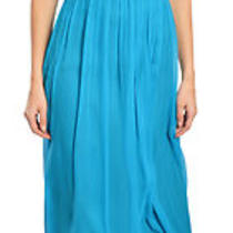 Aidan Mattox Stunning Aqua Blue Silk Chiffon Halter Dress Evening Gown 6 New Photo